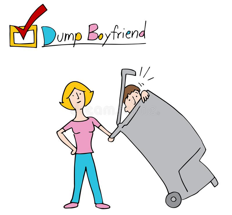 Woman Dumping Boyfriend Into the Trash. An image of a Woman Dumping Boyfriend Into the Trash royalty free illustration