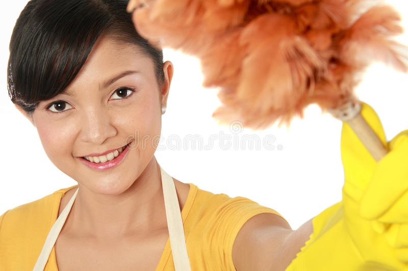 Download Woman with duster stock image. Image of charwoman, broom - 23364727