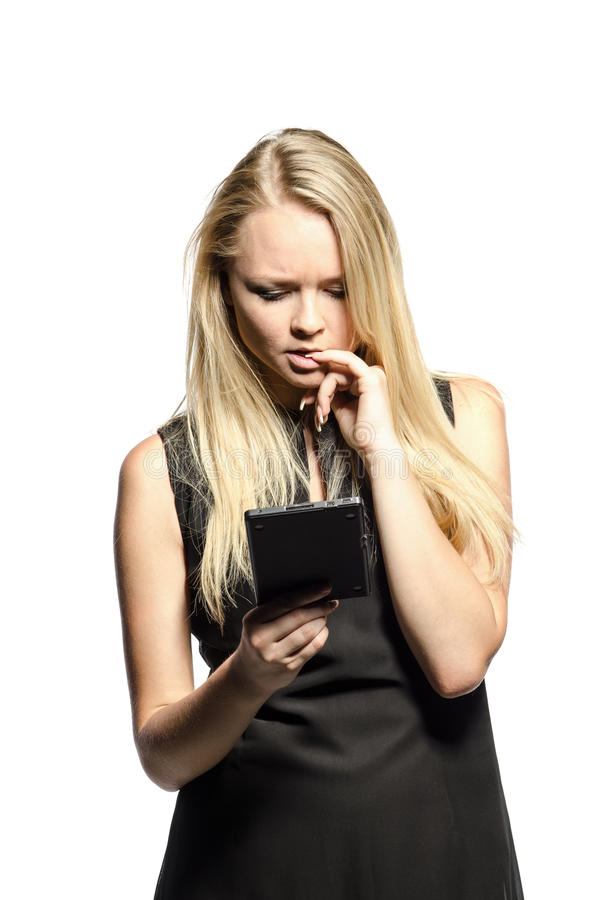 Download Woman with e-reader stock photo. Image of blond, beautiful - 25835310