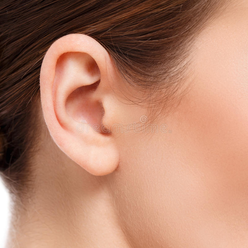 Woman ear closeup stock photo