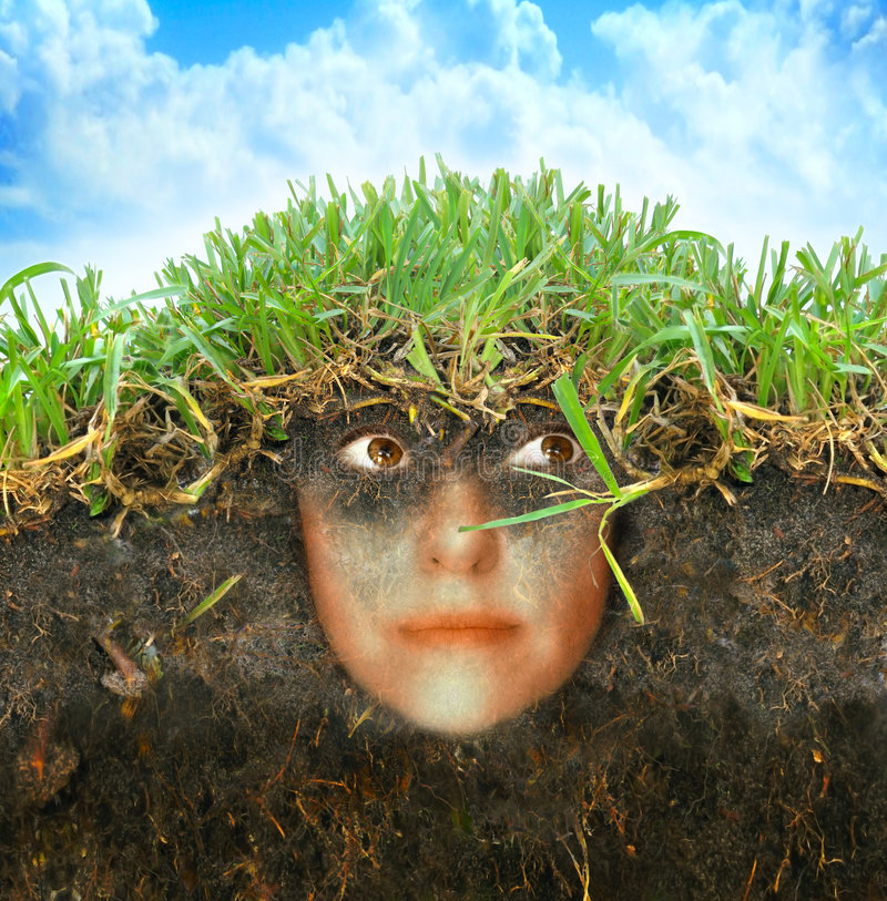Woman in earth stock illustration