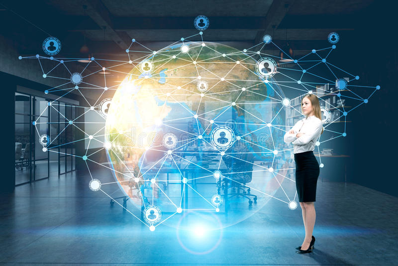 Woman, Earth and network royalty free stock photos