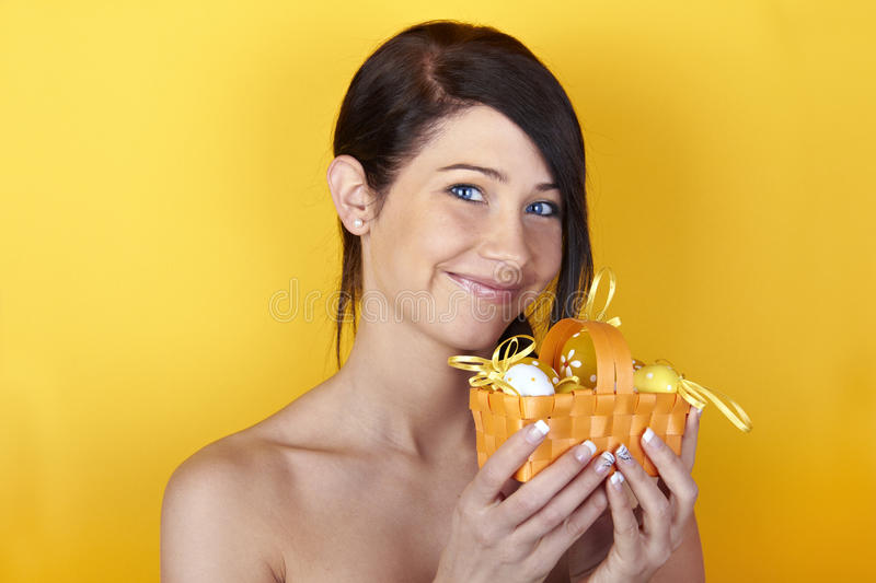 Download Woman with Easter basket stock image. Image of shoulders - 23701111