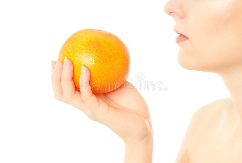 Download Woman Eat Grapefruit Isolated On White Stock Photo - Image of girl, caucasian: 21372242
