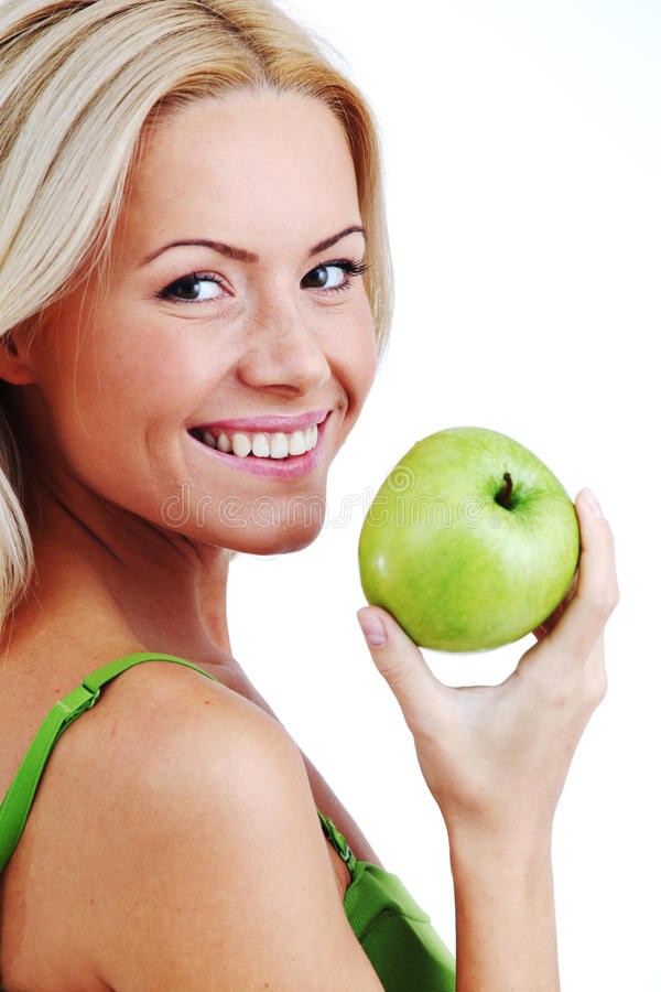 Woman Eat Green Apple Stock Image