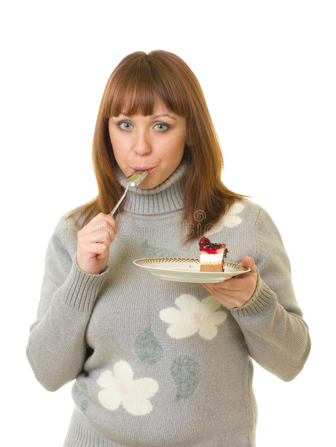 Download Woman eat tasty cake stock image. Image of expression - 22596429