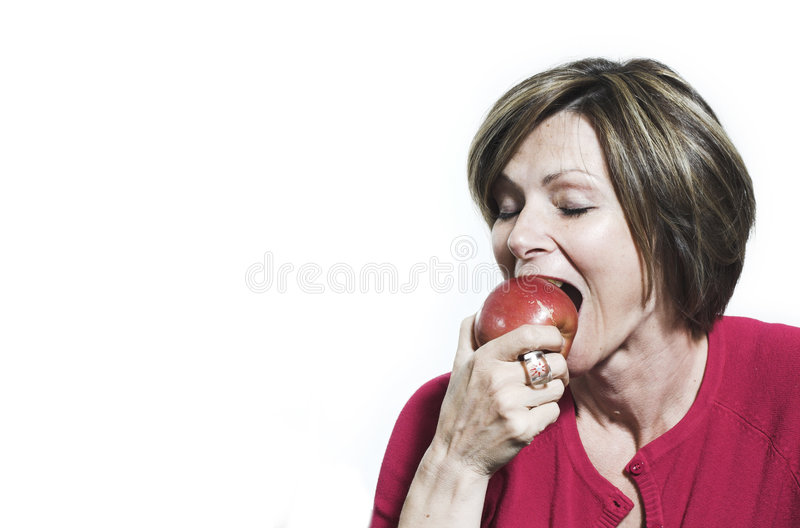 Woman Eating And Apple Stock Photo