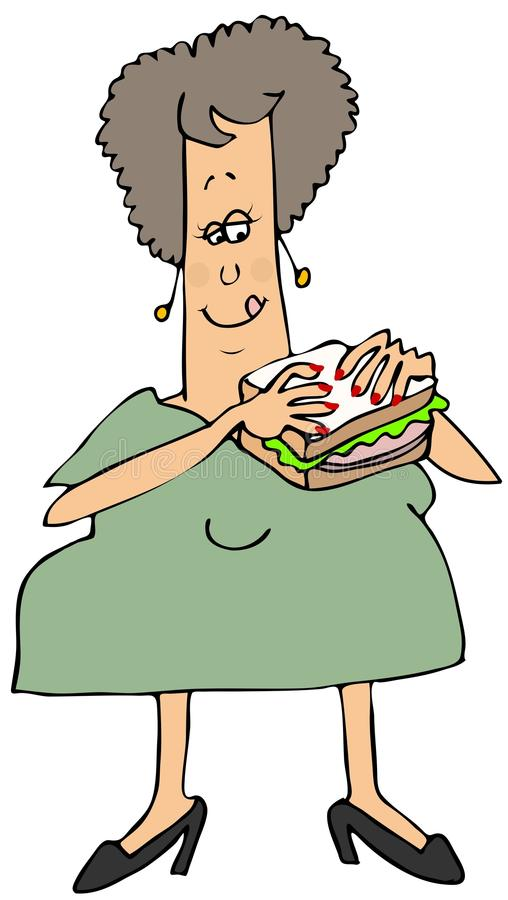 Woman eating a bologna sandwich stock illustration