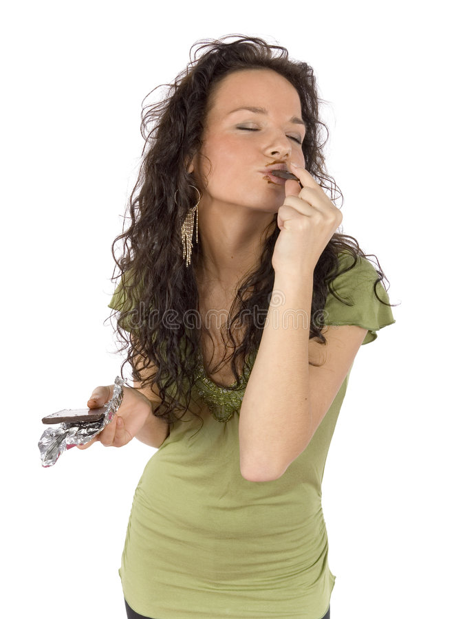 Download Woman Eating Chocolate With Great Pleasure Stock Image - Image: 1581073