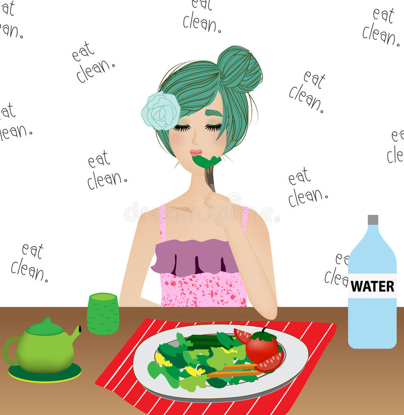 Woman is eating clean food such as organic salad ,tea and water with eat clean word on background stock illustration