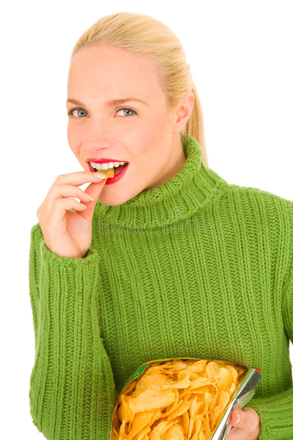 Free Woman Eating Crisps Royalty Free Stock Photography - 22800307