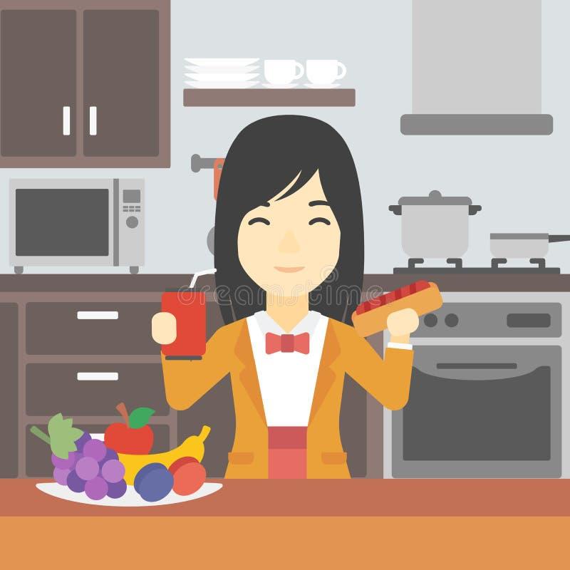 Wan Eating Fast Food Vector Illustration. Stock Vector ...