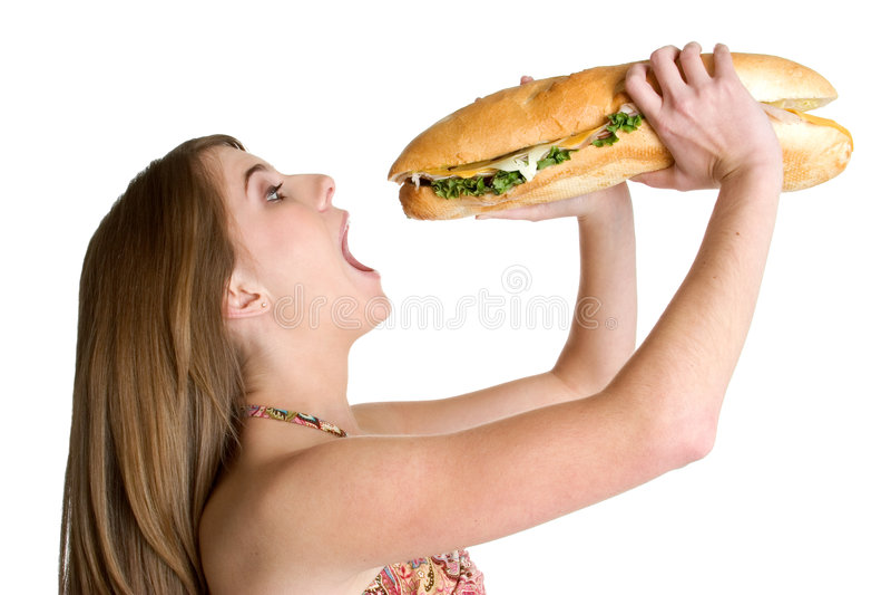 Woman Eating Food Stock Photo