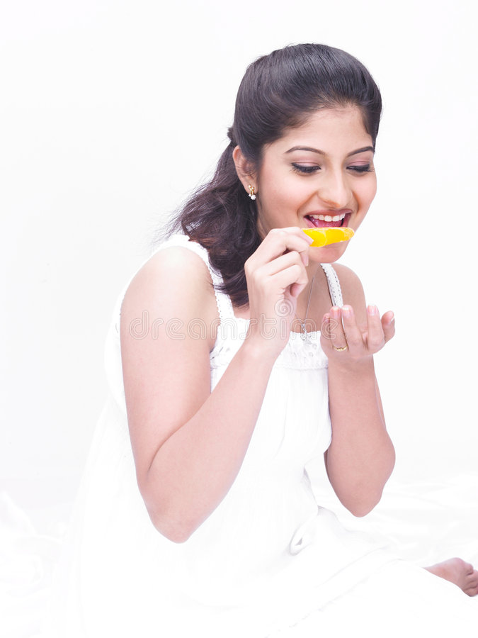Download Woman eating an ice cream stock image. Image of casual - 7387309