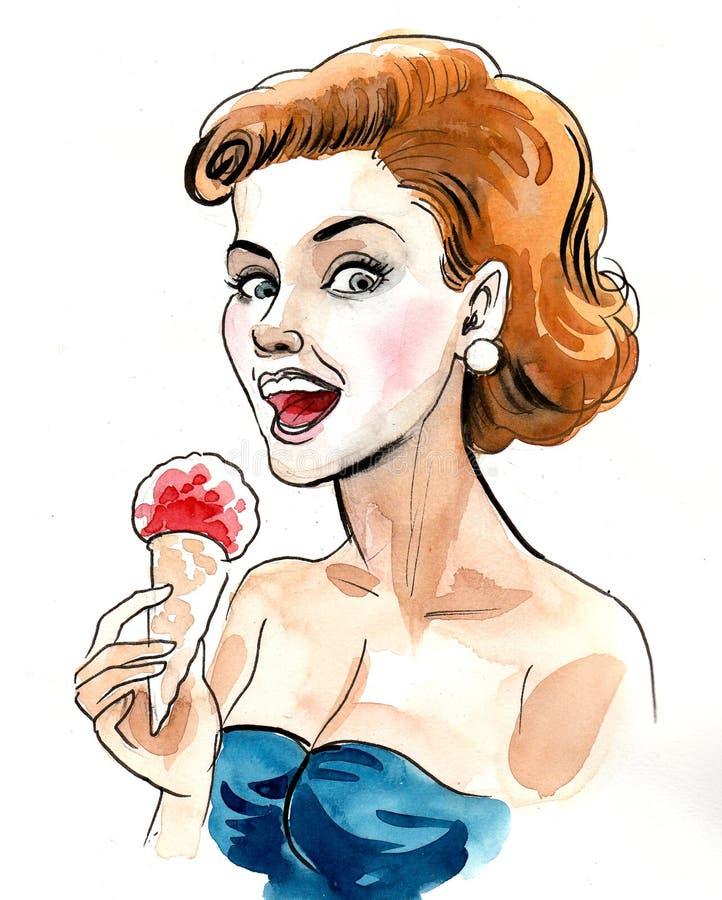 Woman eating an ice cream stock illustration