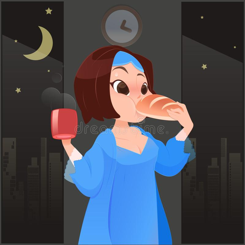 Woman eating at night. Illustration woman in blue nightgown eating coffee and bread in kitchen with window at night, Cartoon stock illustration