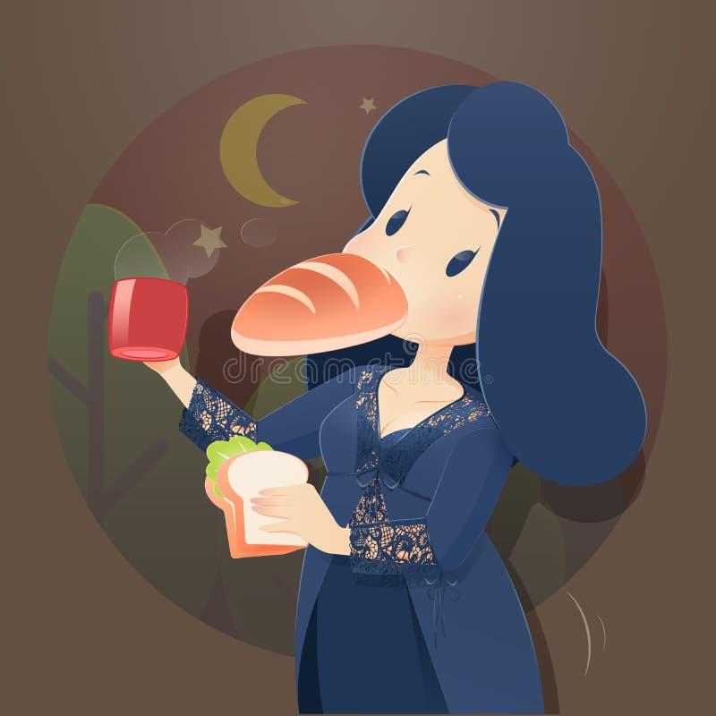Woman eating at night. Illustration woman in blue nightwear and lace robe eating at night. Night hunger, Drinking coffee, Cartoon-Vector vector illustration
