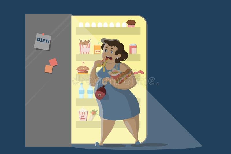 Woman eating at night. stock illustration
