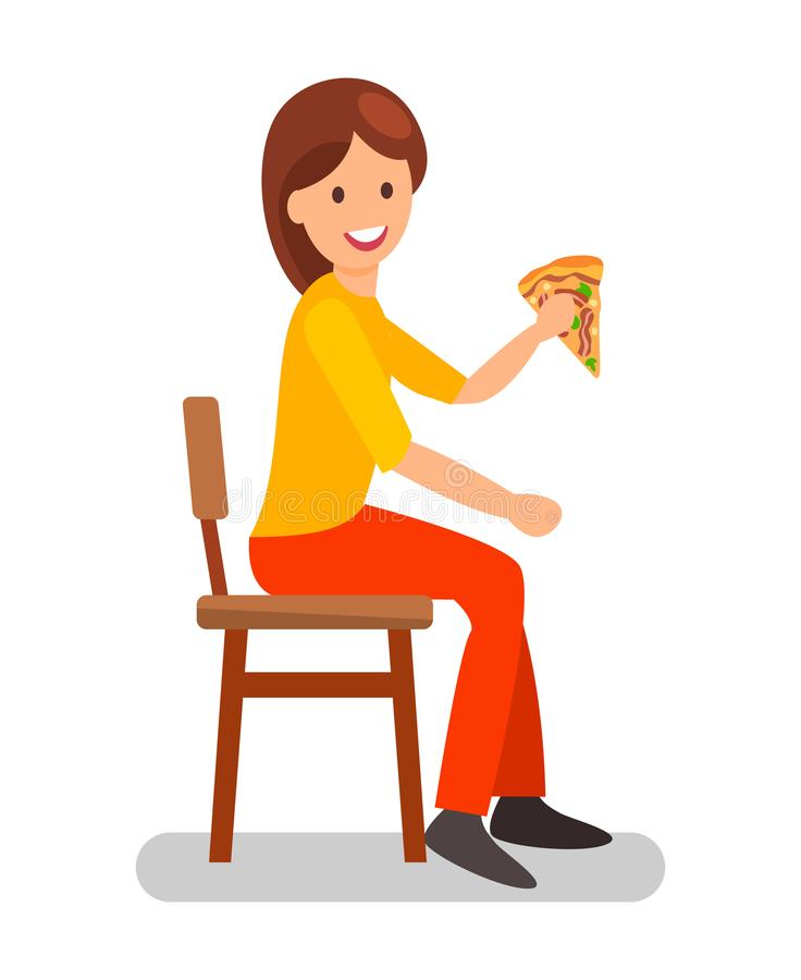 Woman Eating Pizza Slice Flat Vector Illustration. Girl Having Dinner in Restaurant. Female Cartoon Character on Lunch Break in Cafe. Cafeteria, Pizzeria royalty free illustration