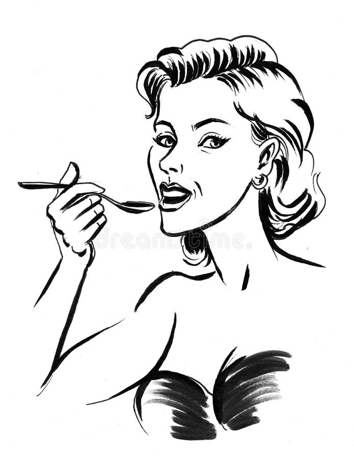 Woman eating with a spoon vector illustration