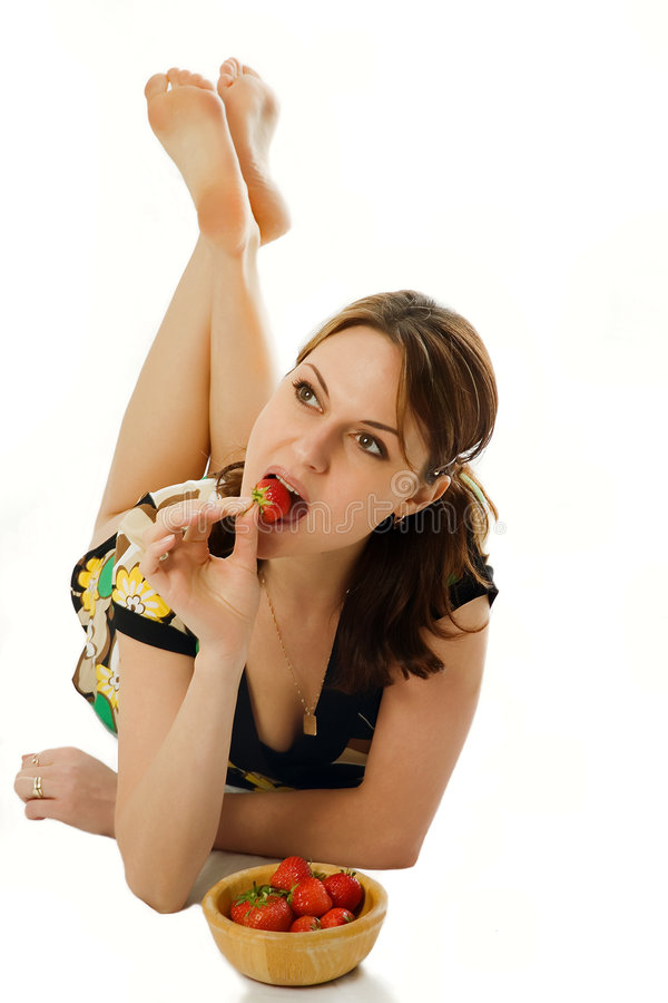 Download Woman eating a strawberry stock photo. Image of licking - 2670368