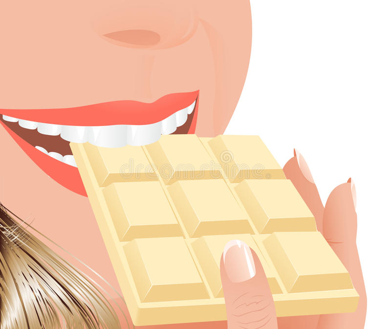 Download Woman Eating White Chocolate Stock Vector - Image: 12556738