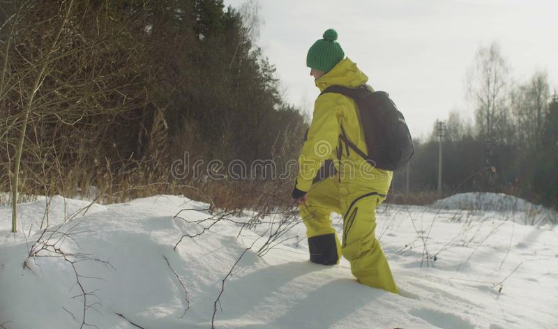 Woman ecologist walking in a deep snow stock image