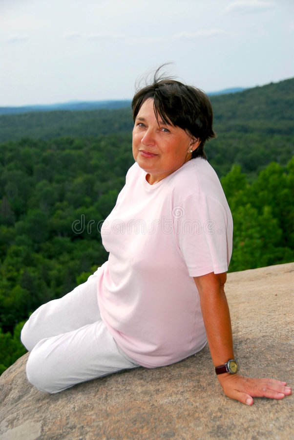 Woman Edge Cliff Stock Photography