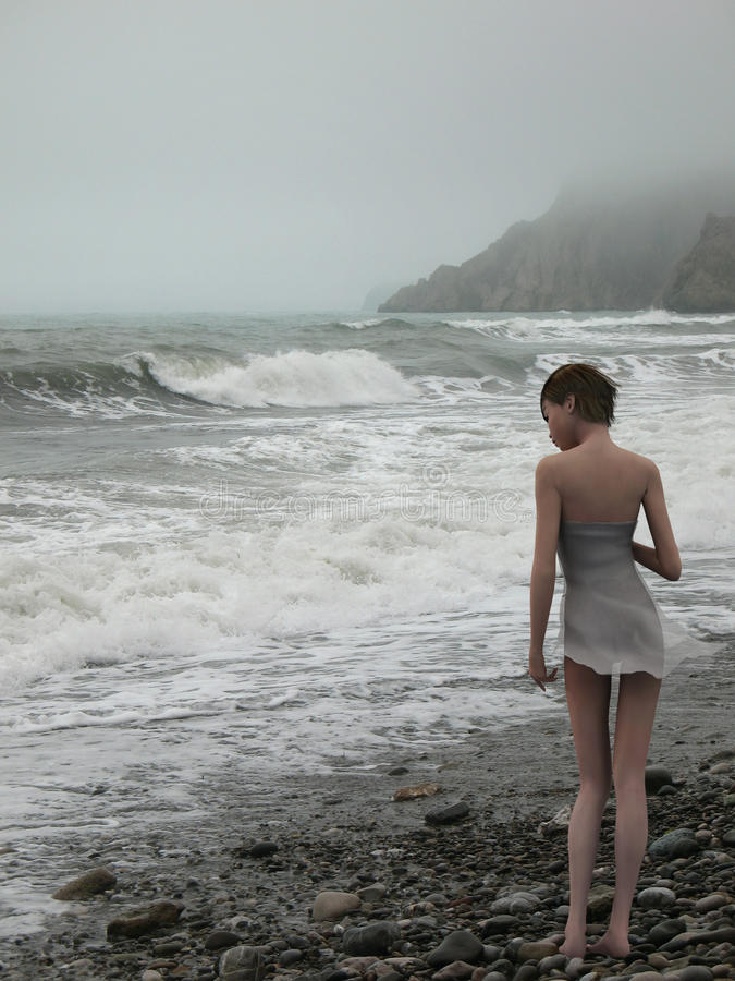 Download Woman On Edge Of The Stormy Sea Royalty Free Stock Photo - Image: 21080555