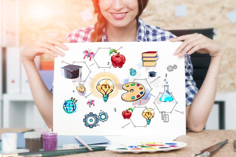 Woman with education drawing stock photography