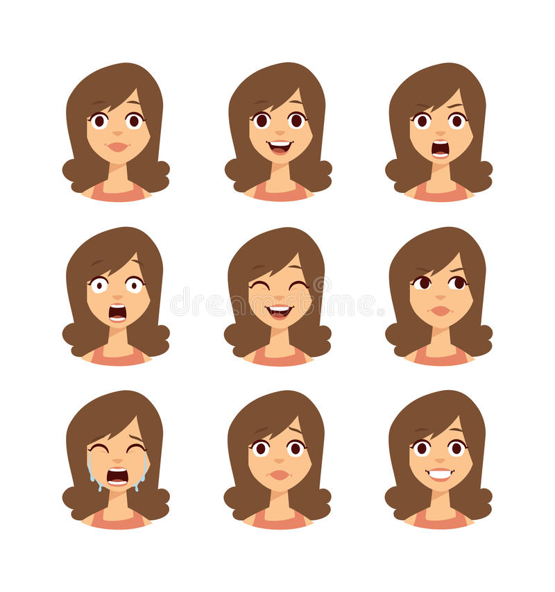 Woman emoji face vector icons. vector illustration