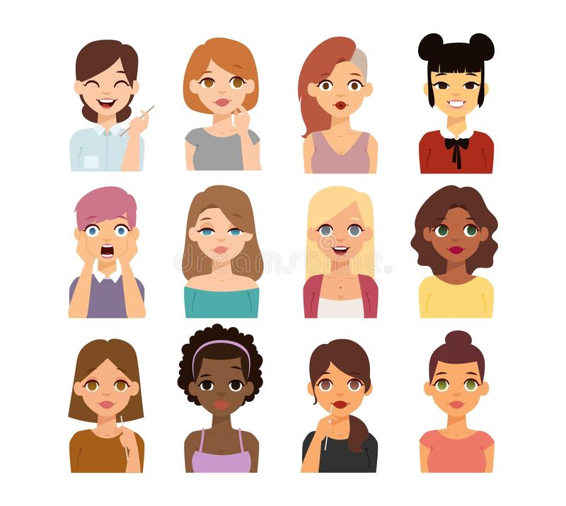 Woman emoji face vector icons. royalty free illustration