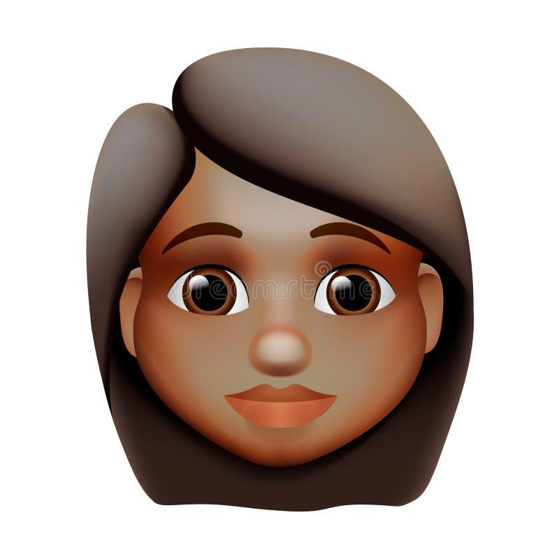 Woman emoji icon, dark skin tone, red hair, vector illustration. vector illustration