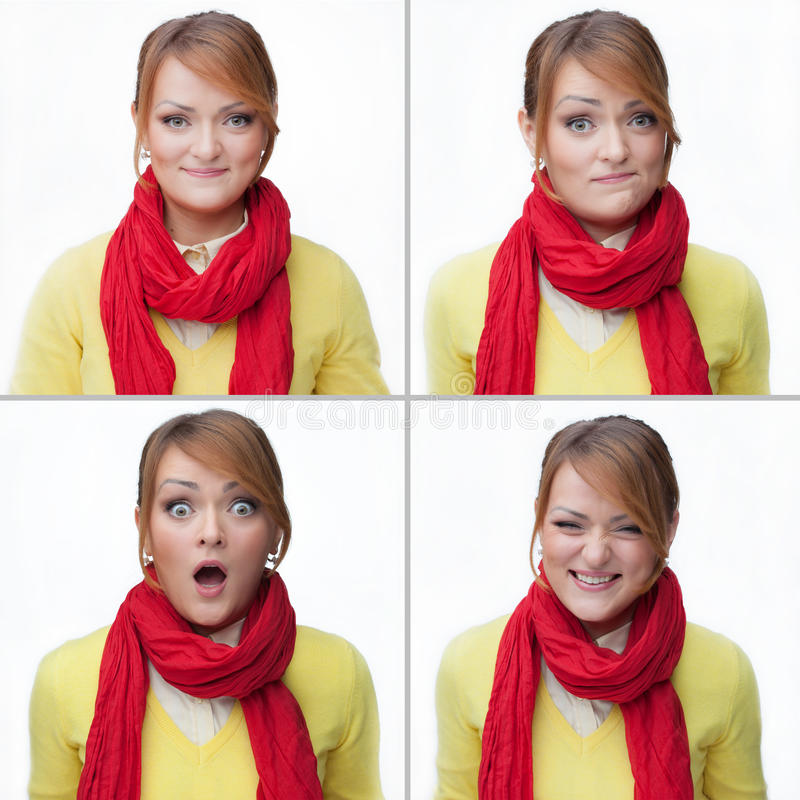 Woman emotions collage isolated. On white stock photography