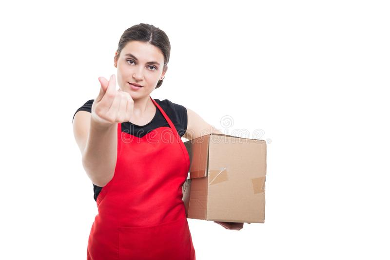 Woman employer doing a money gesture stock image