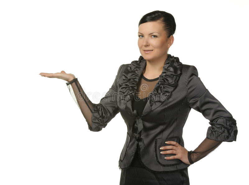 The woman with an empty palm. It is isolated on a white background stock image