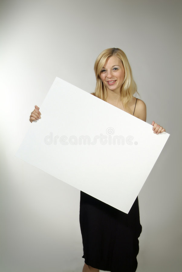Download Woman With Empty Poster Stock Image - Image: 5376321