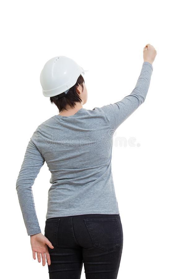 Woman engineer drawing stock image