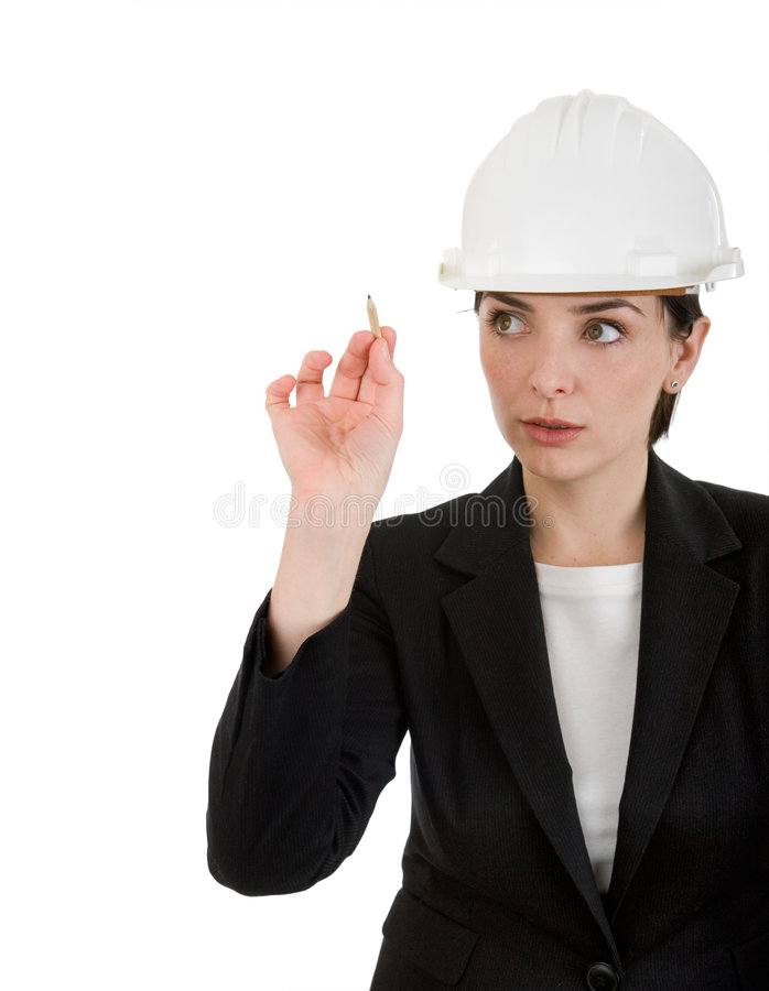 Download Woman Engineer Writing With A Pancil. Stock Image - Image: 7314183