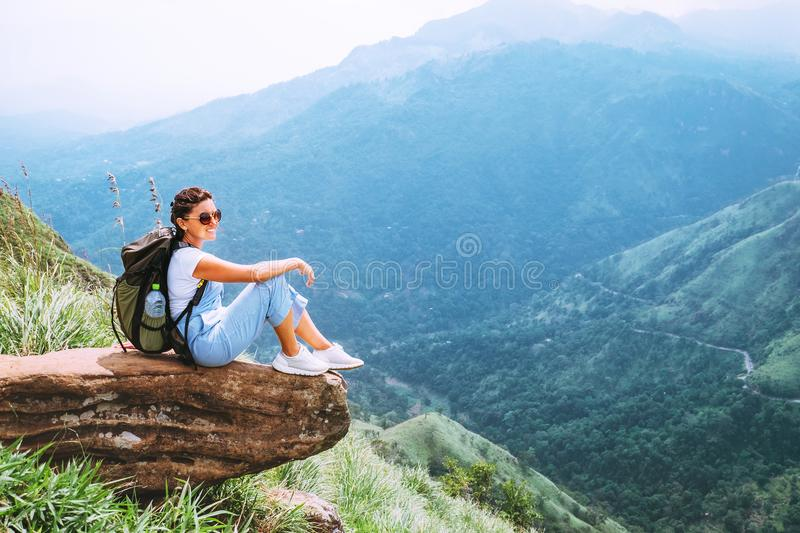 Woman enjoy with beautiful view on mountains and valley in Ella, Sri Lanka, Little Adam Peak stock image