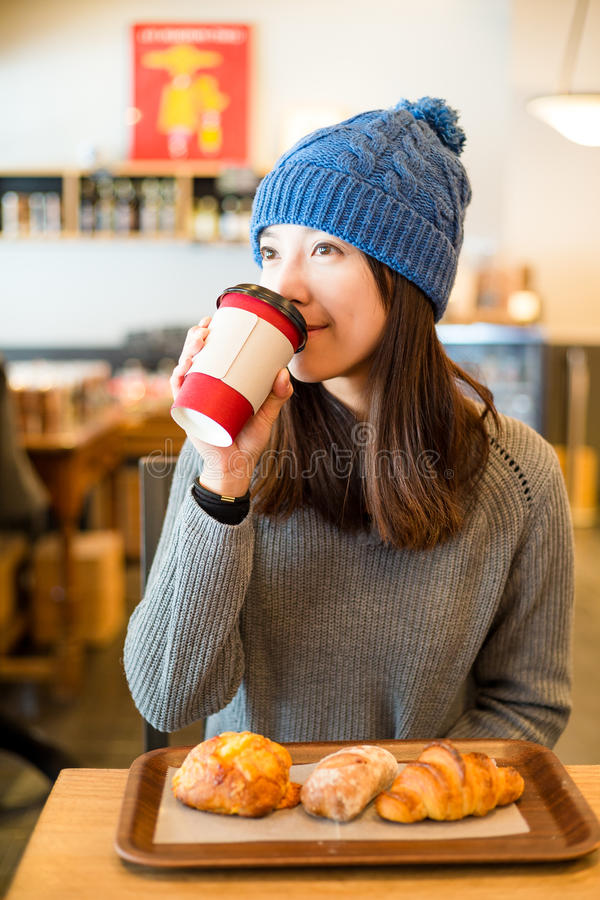Woman enjoy her morning coffee stock photos