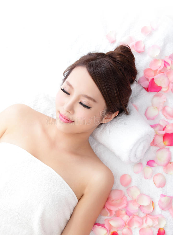 Woman enjoy massage at spa stock image