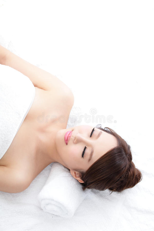 Woman enjoy massage at spa royalty free stock photos