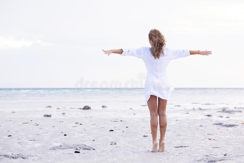Woman enjoy sea beach royalty free stock photo