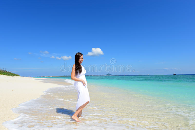 Woman enjoy the sun. royalty free stock image
