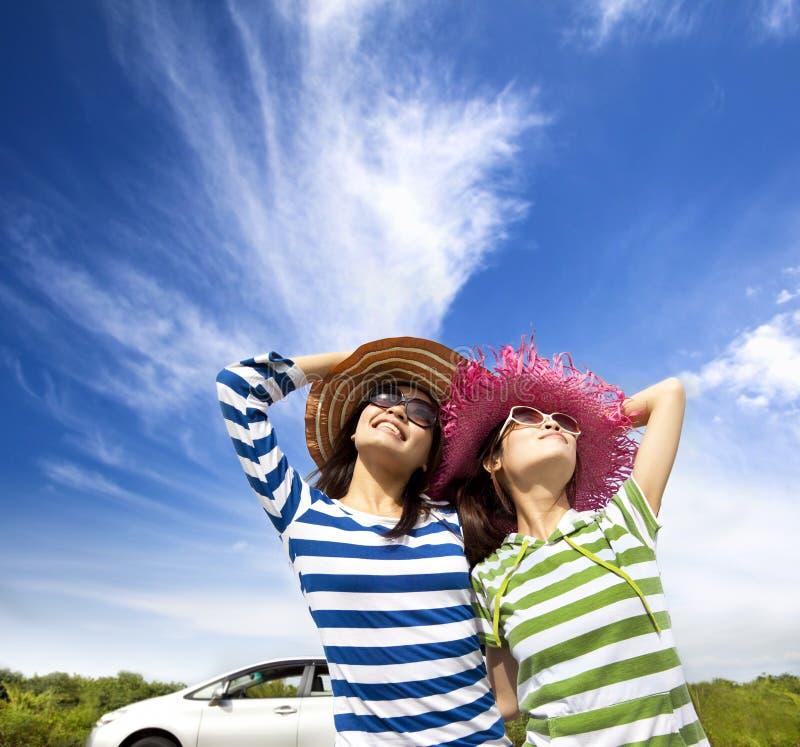 Woman enjoy vacation on road trip stock photo