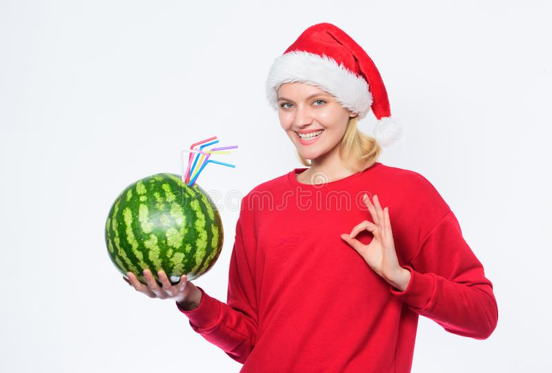 Woman enjoy vitamin drink. Rich vitamin ration concept. Winter vitamin fruit ration. Detox after christmas. Strengthen royalty free stock image