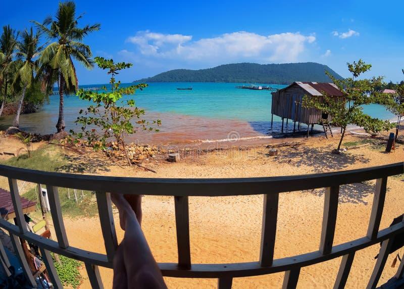Woman enjoying the beautiful beach and sea in Koh Rong Samloem royalty free stock photos