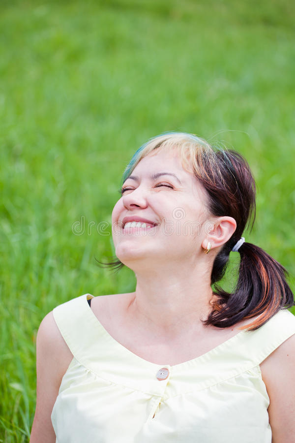 Woman enjoying a day outdoor stock image