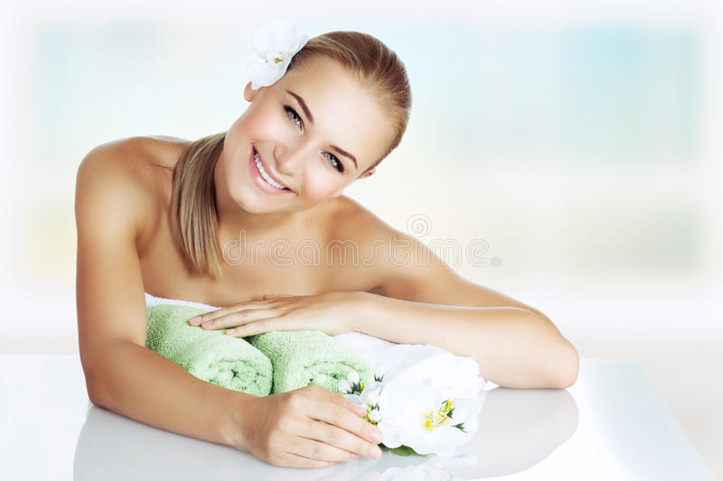 Woman enjoying day spa stock images